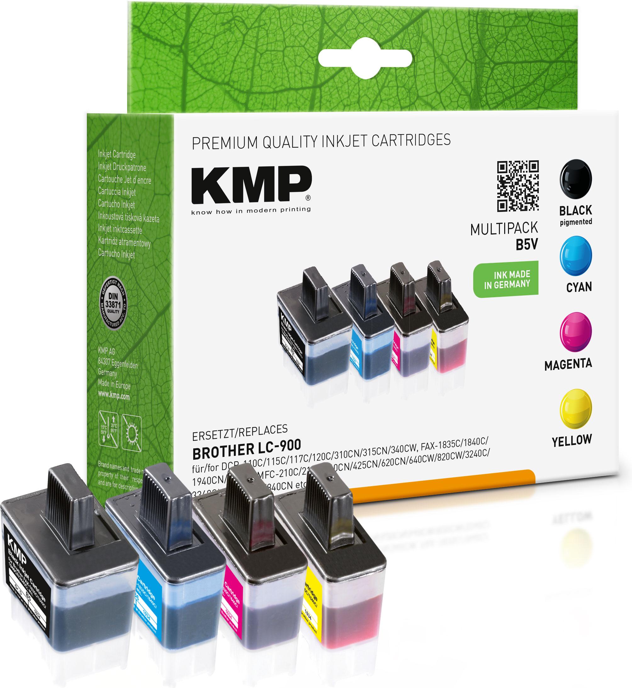 KMP Tintenpatrone gelb cyan magenta 2x schwarz (1034,0005, B5V)