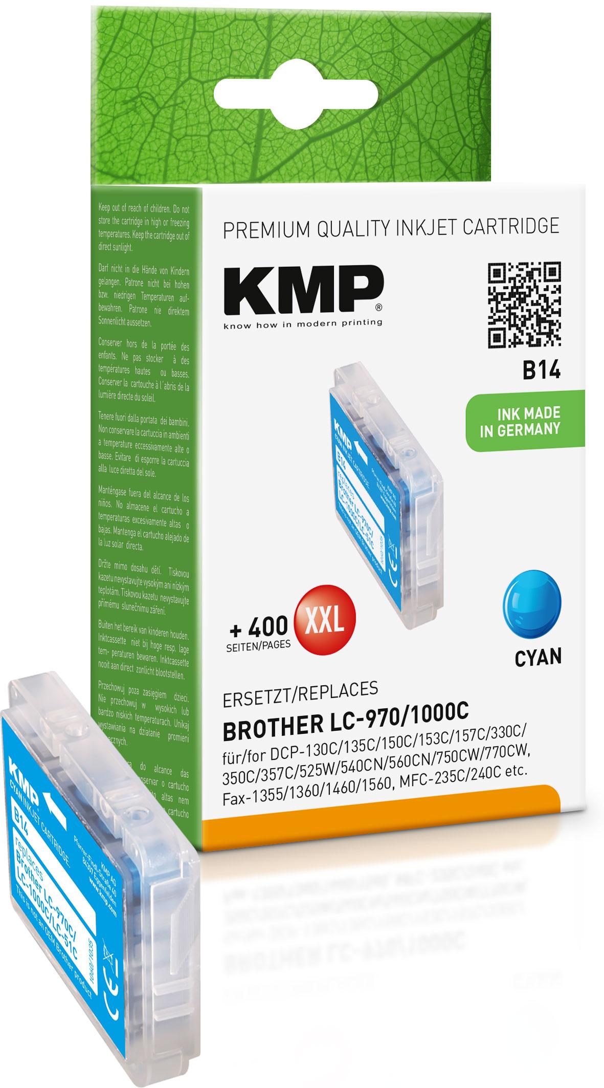 KMP Tintenpatrone cyan (1060,0003, B14)