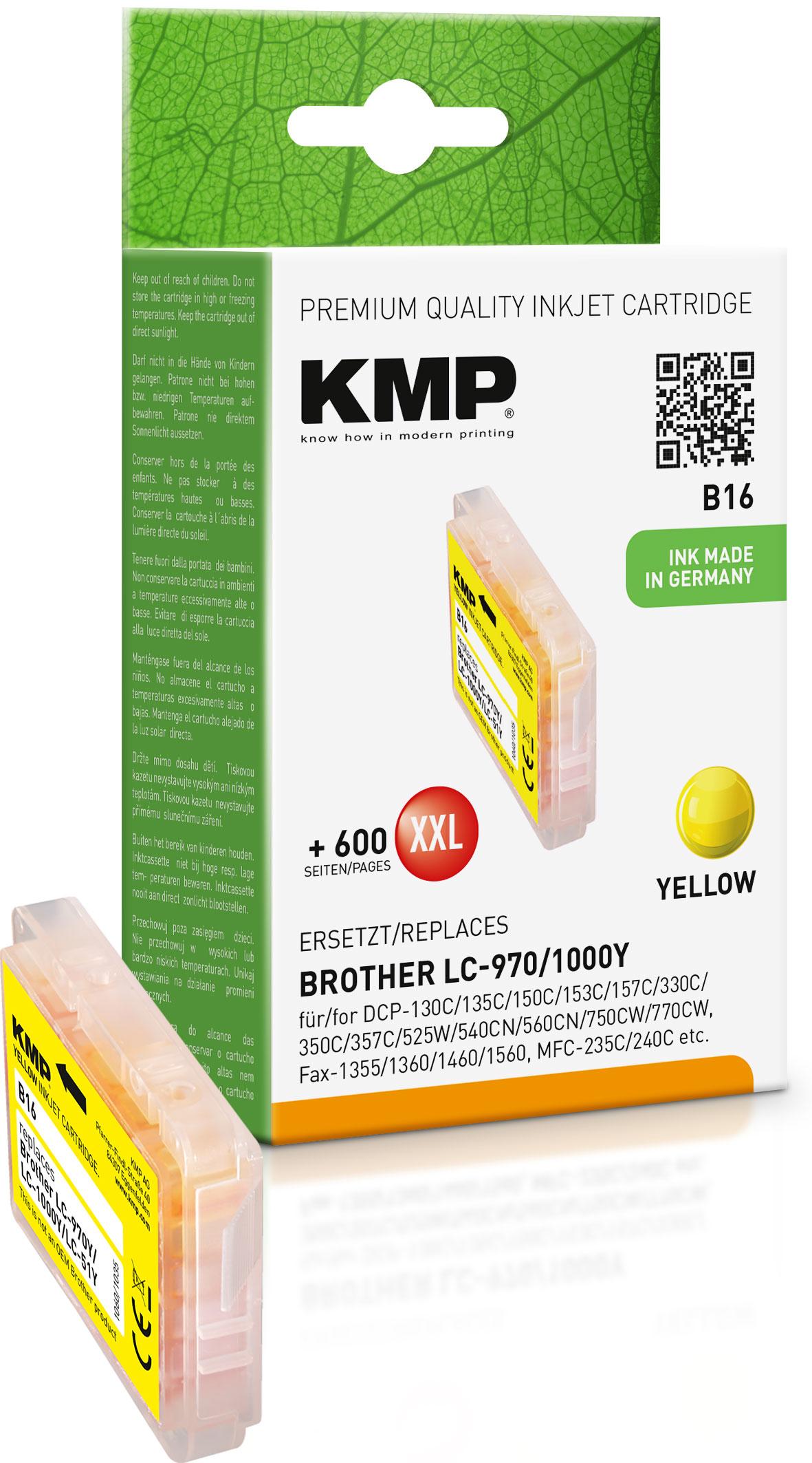 KMP Tintenpatrone gelb (1060,0009, B16)