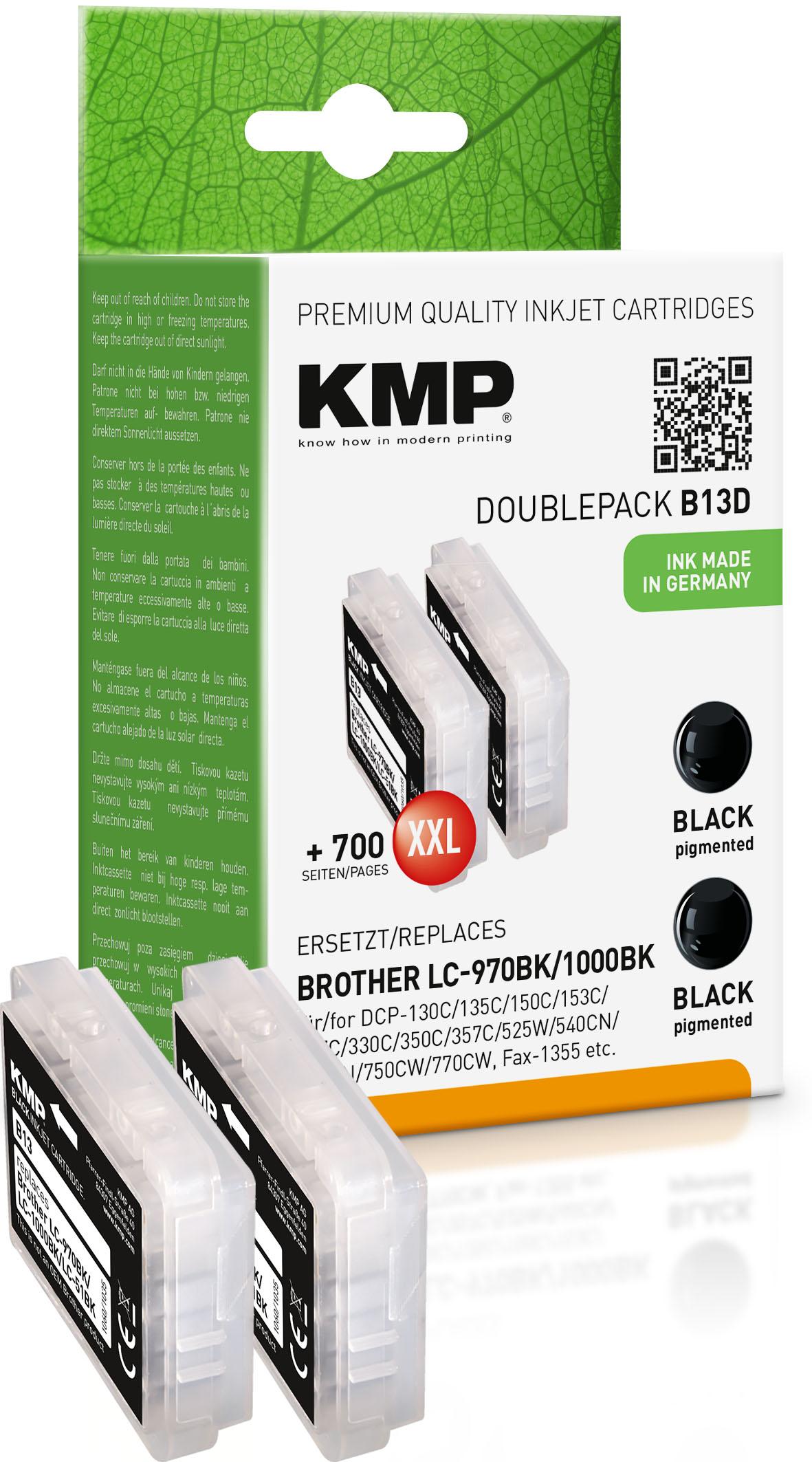 KMP Tintenpatrone 2x schwarz 2-er Pack (1060,0021, B13D)