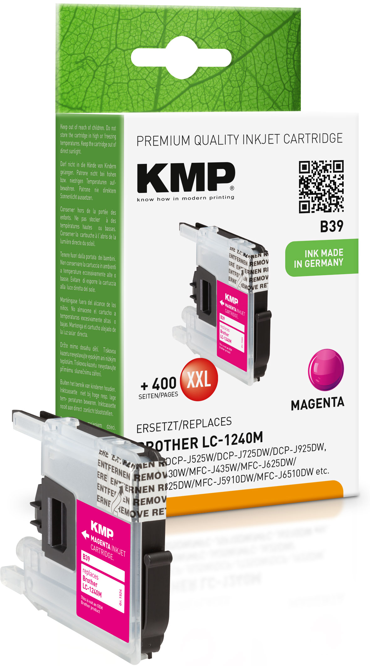 KMP Tintenpatrone magenta (1524,0006, B39)