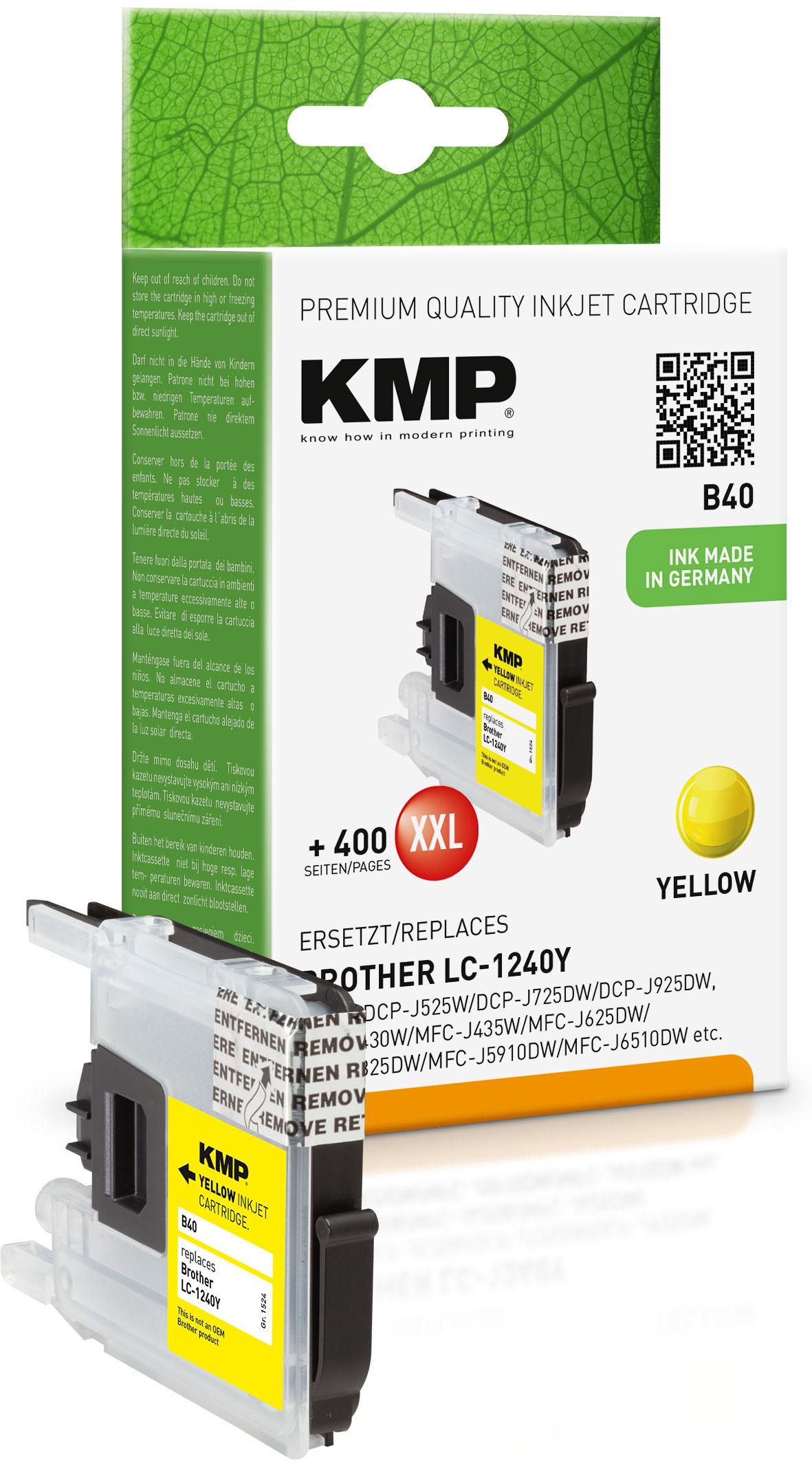 KMP Tintenpatrone gelb (1524,0009, B40)