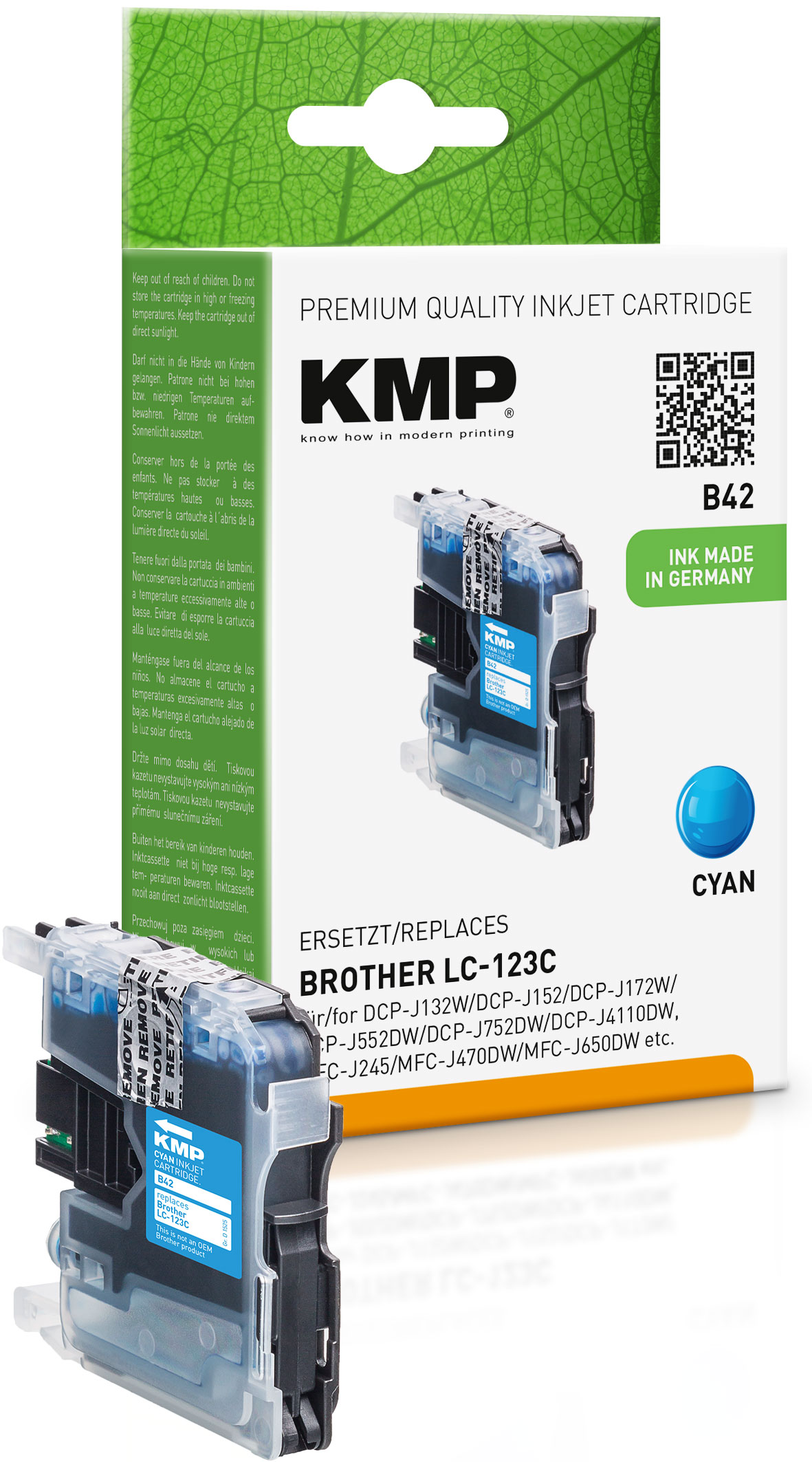 KMP Tintenpatrone cyan (1525,0003, B42)