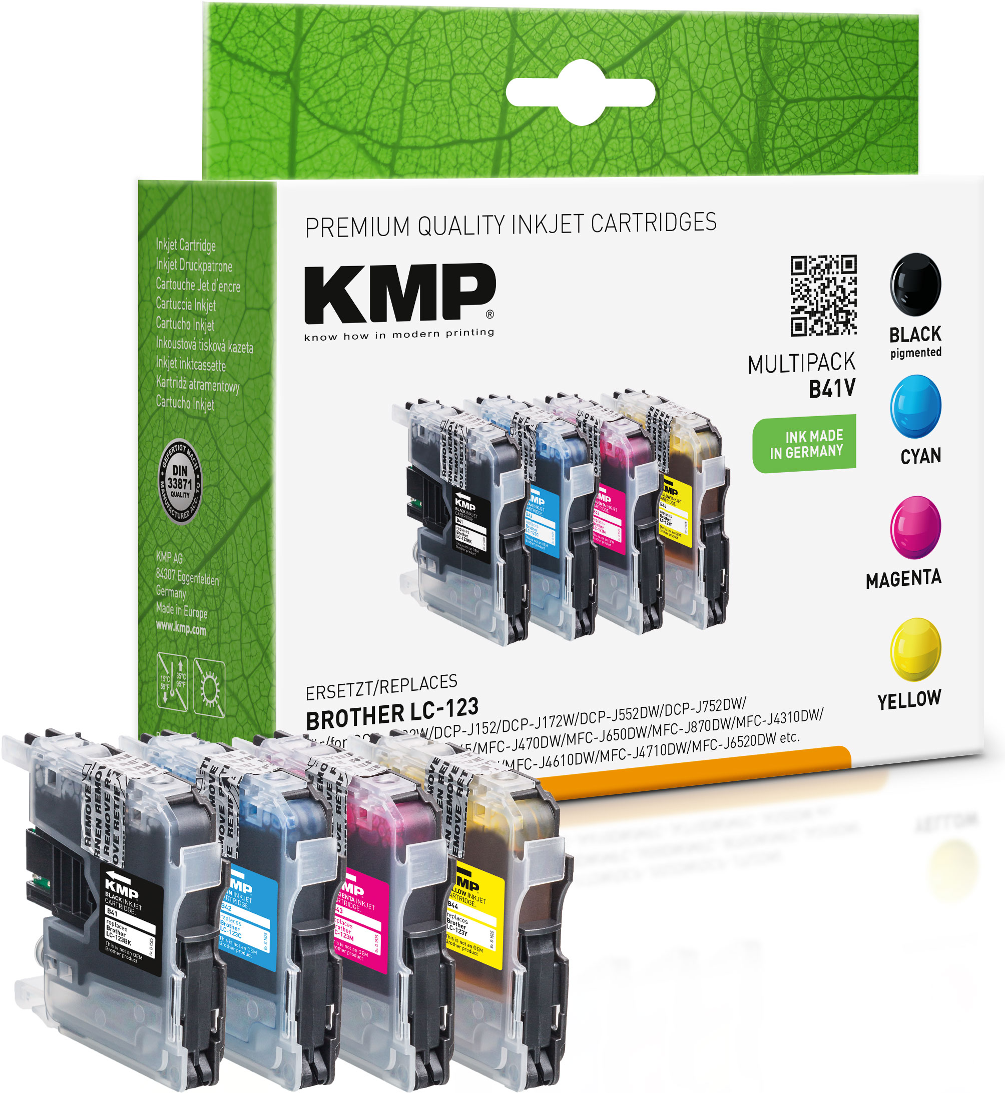 KMP Tintenpatrone gelb cyan magenta schwarz (1525,0050, B41V)