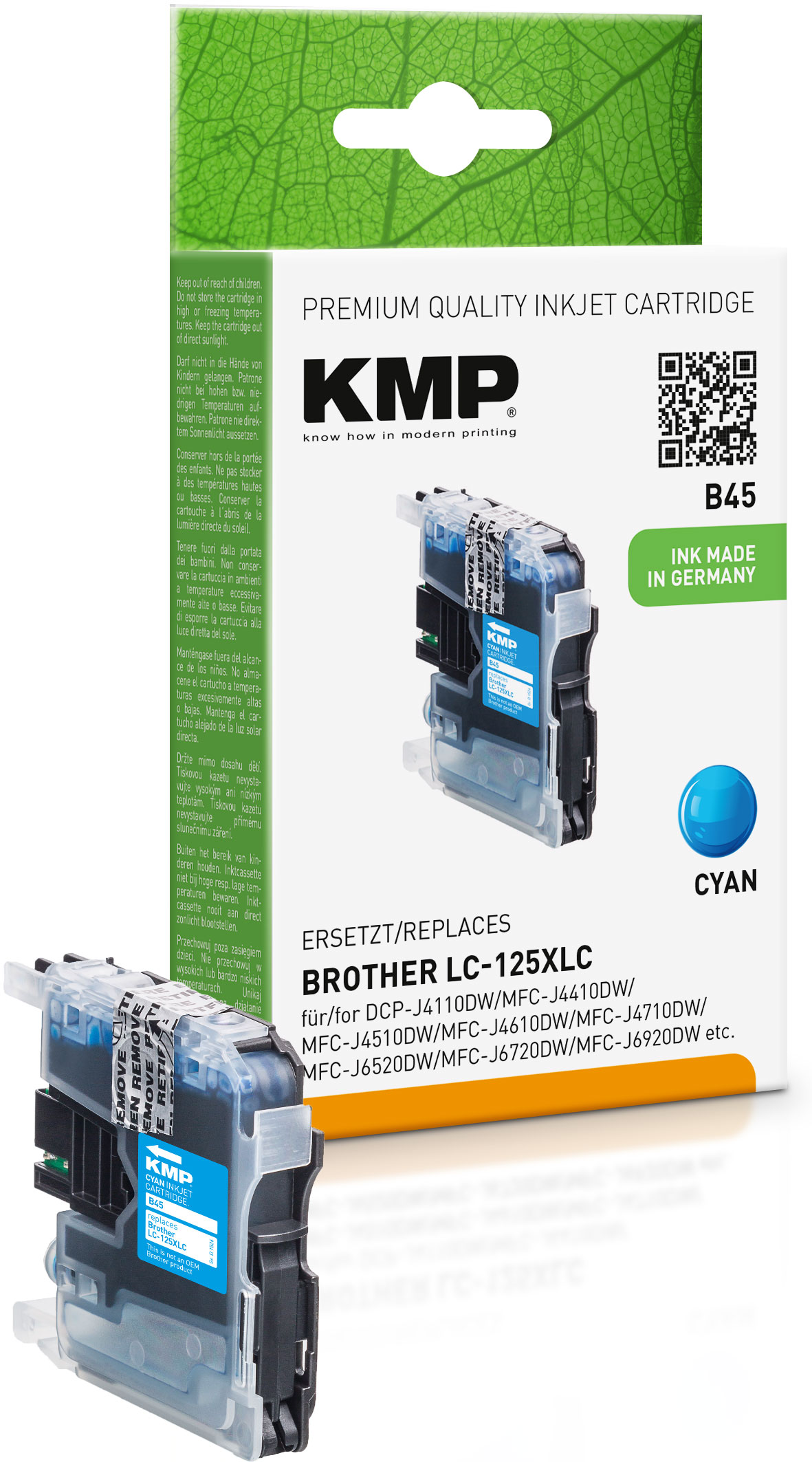 KMP Tintenpatrone cyan HC (1526,0003, B45)