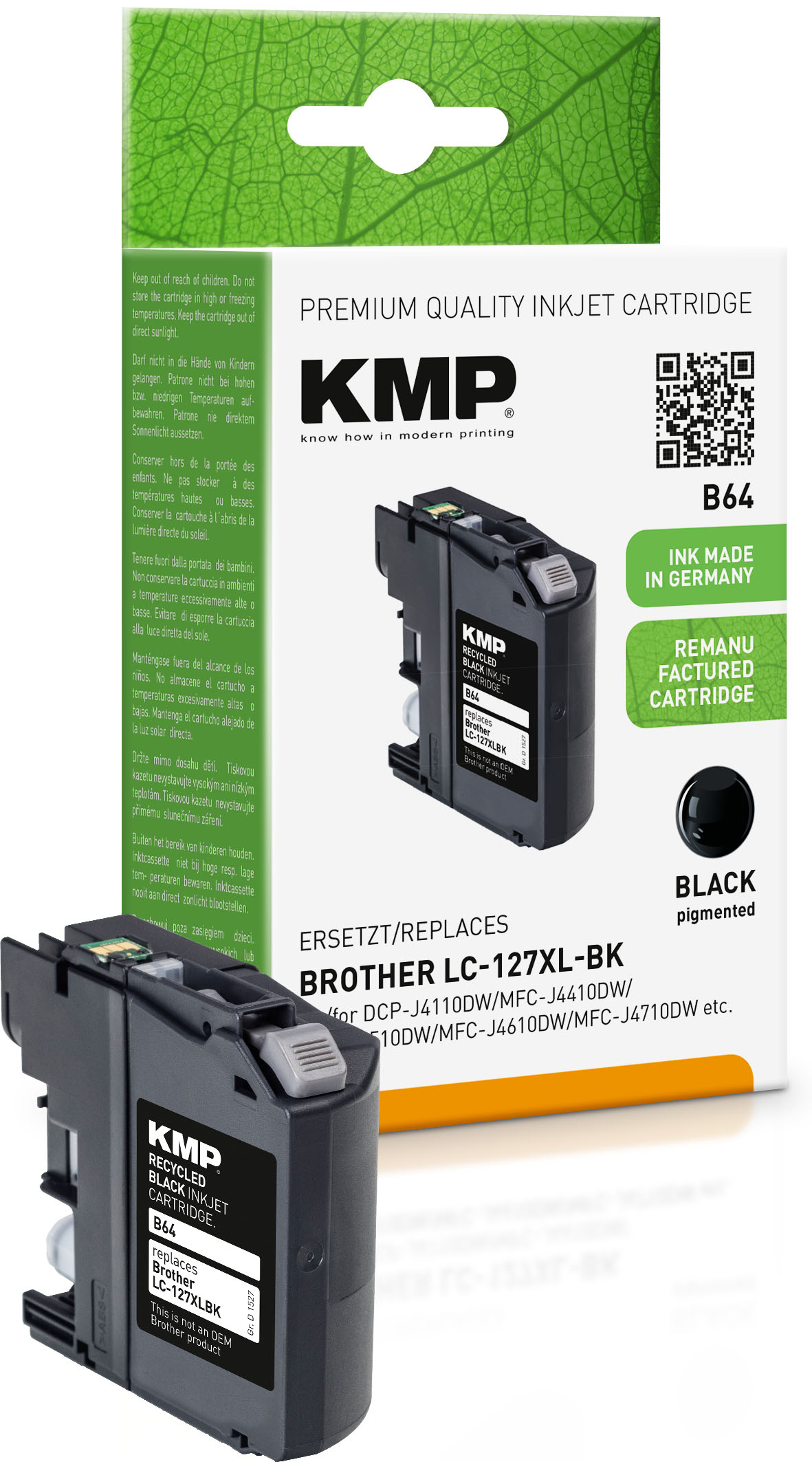 KMP Tintenpatrone schwarz HC (1527,4001, B64)