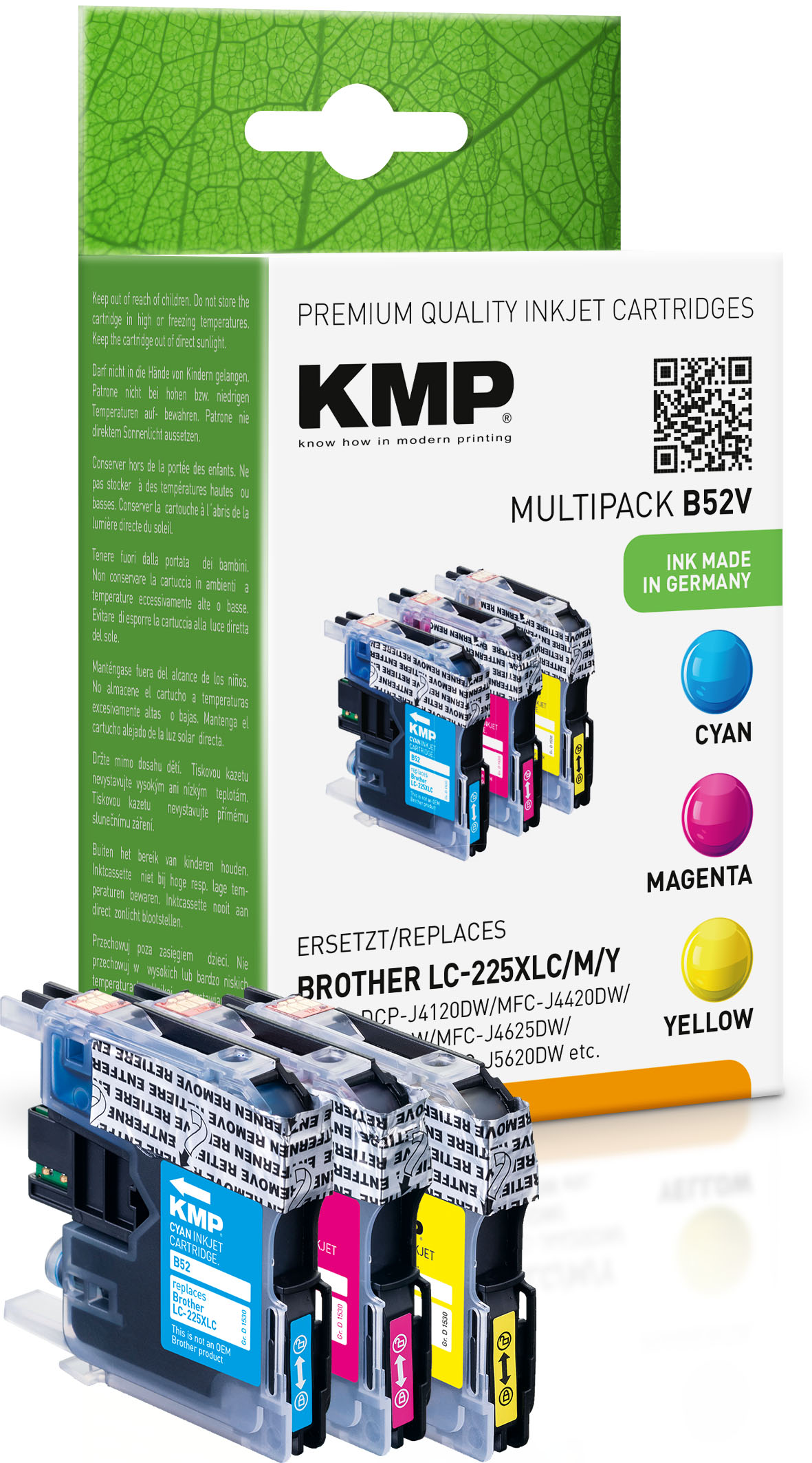 KMP Tintenpatrone gelb cyan magenta HC (1530,0050, B52V)