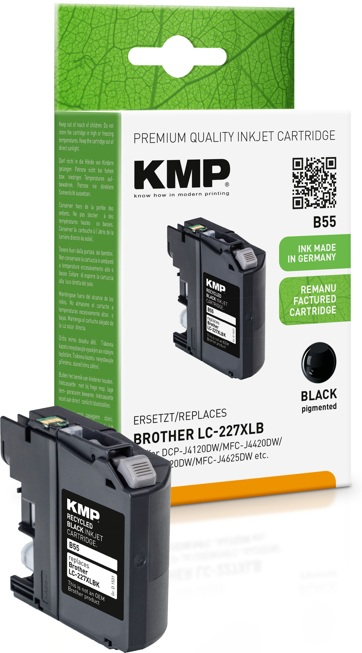KMP Tintenpatrone schwarz HC (1531,4001, B55)