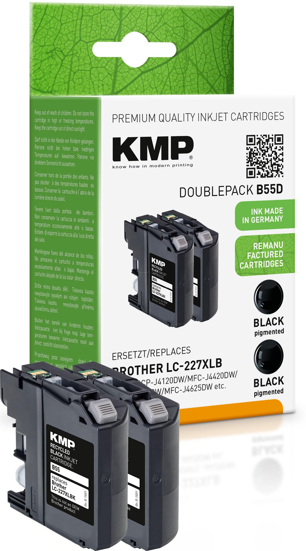KMP Tintenpatrone 2x schwarz HC (1531,4021, B55D)
