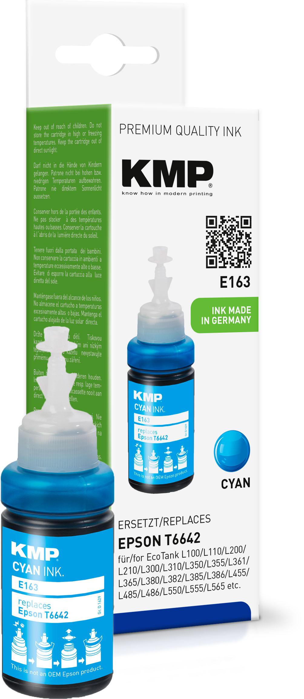 KMP Tintennachfülltank cyan (1629,0003, E163)